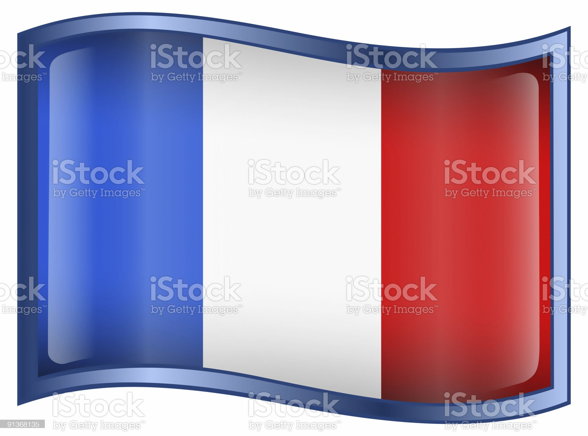 France Flag Icon, isolated on white background. royalty-free stock photo