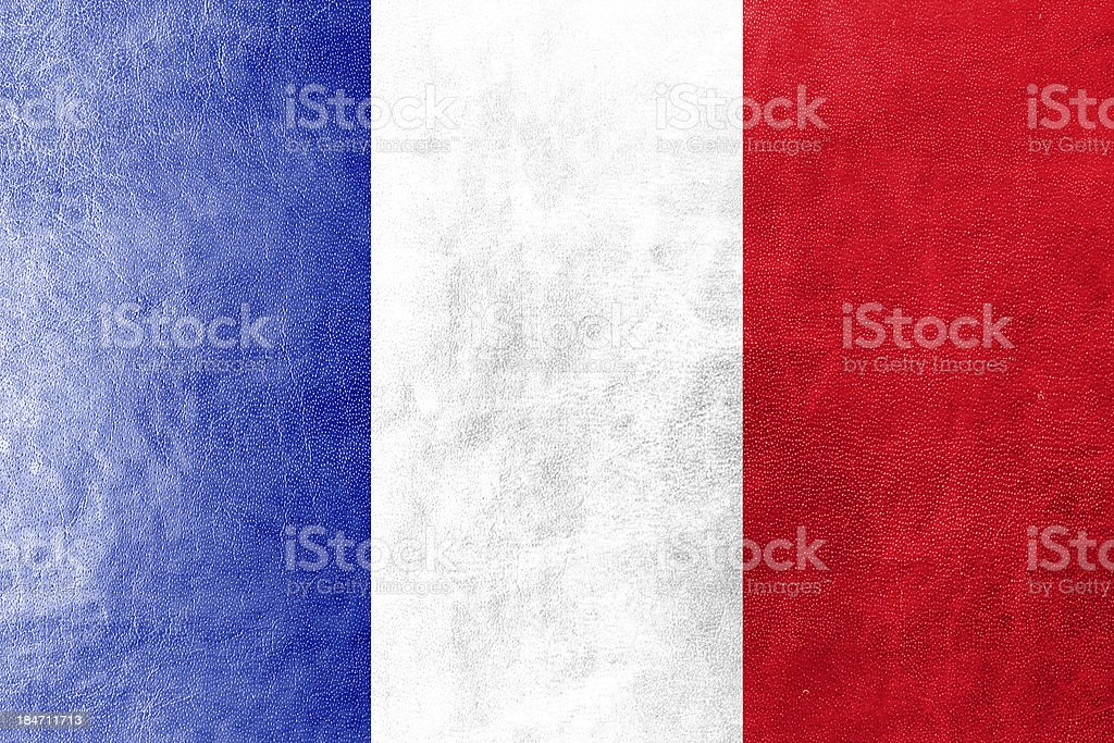 France Flag on leather texture or background royalty-free stock photo