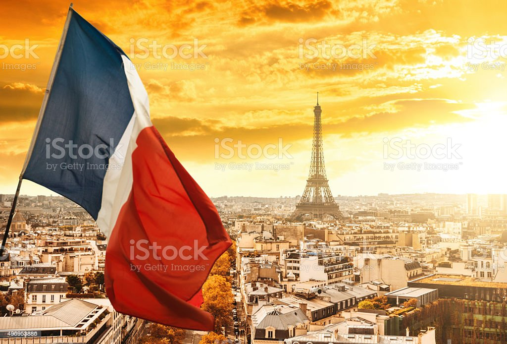 France flag on night stock photo
