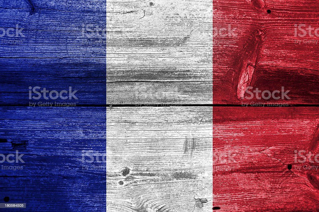 France flag painted on old wood plank background royalty-free stock photo