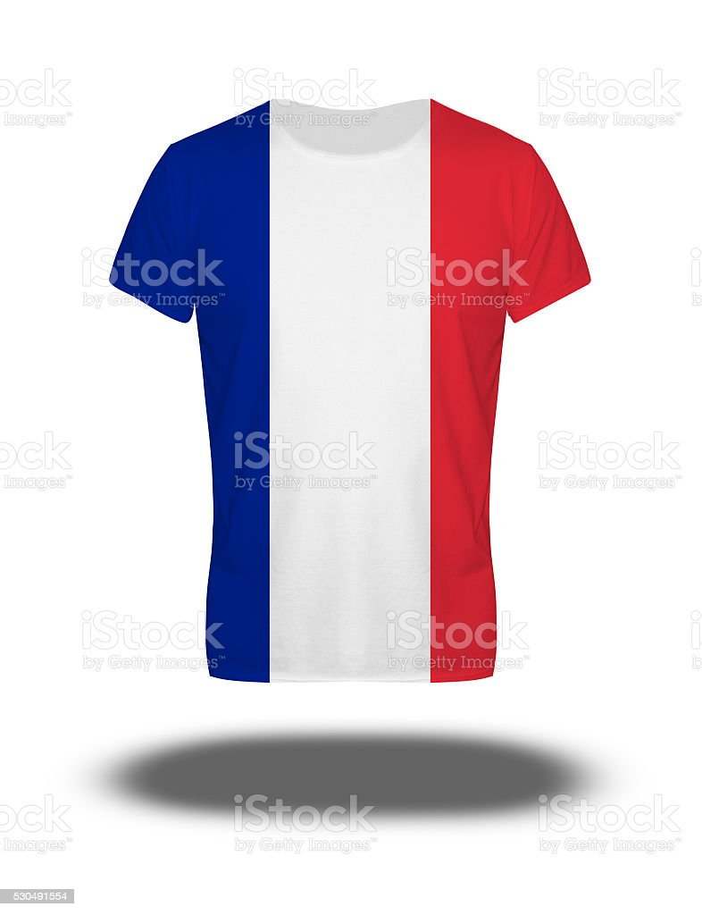France flag t-shirt on white background with shadow stock photo