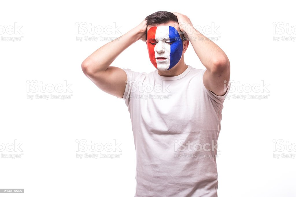 France football fan disapointed score of France national football team. stock photo