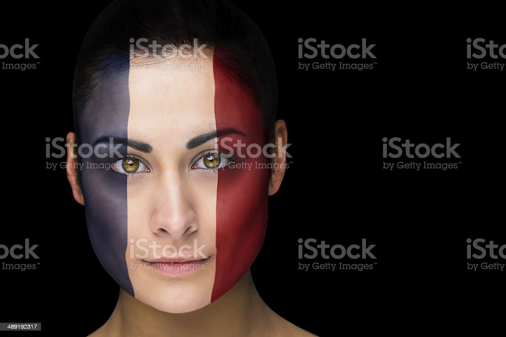 France football fan in face paint royalty-free stock photo