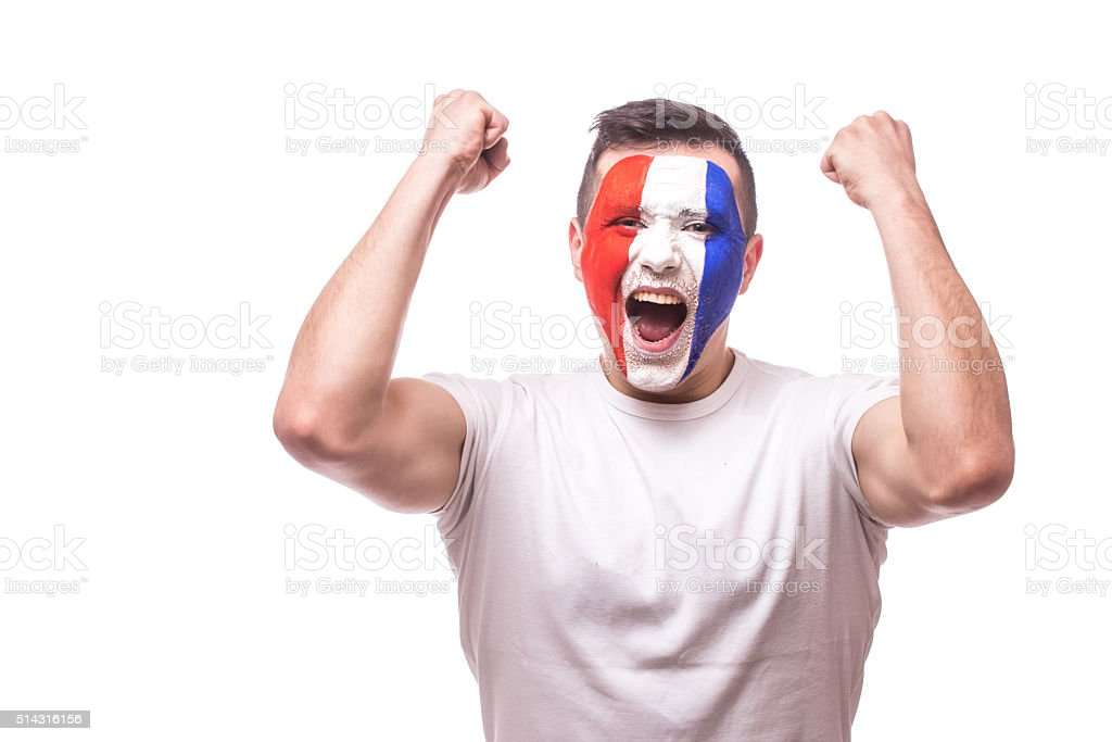 France football fan of fortune win  of France national team. stock photo