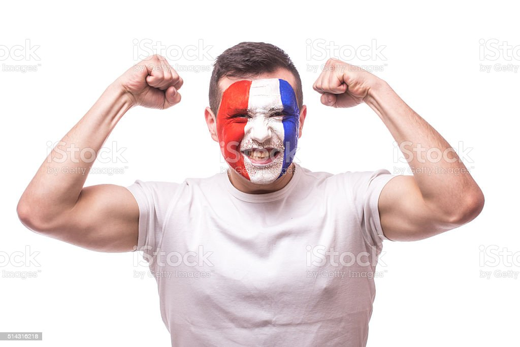 France football fan score of the game France national team. stock photo