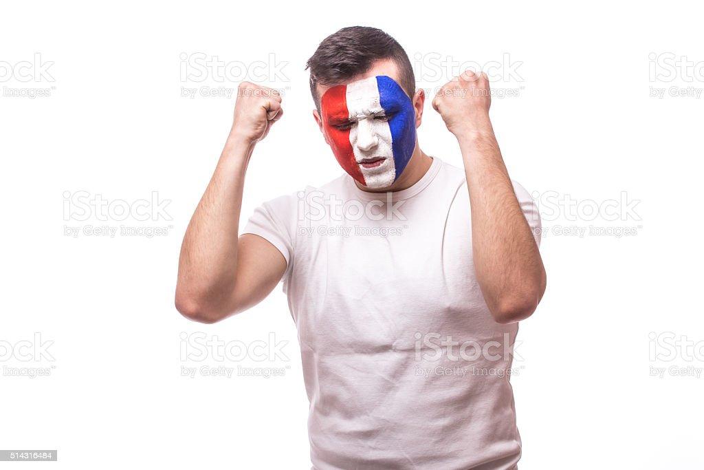 France football fan  succes score France national football team. stock photo