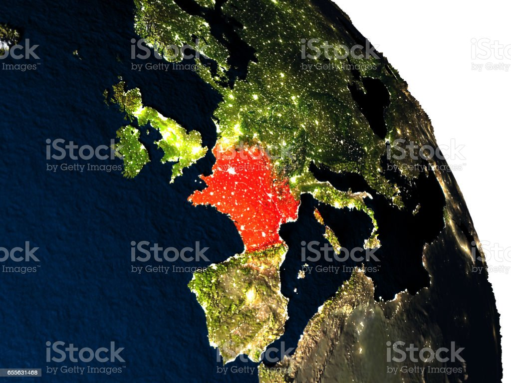 France from space vector art illustration