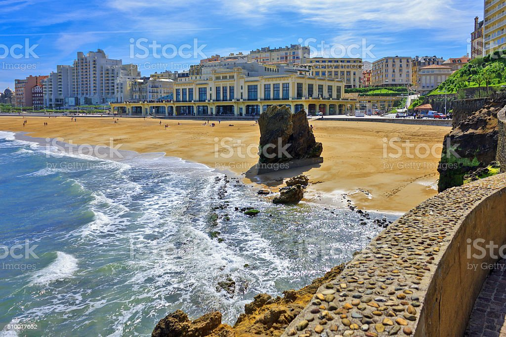 France: Grande Plage of Biarritz in the Bay of Biscay stock photo