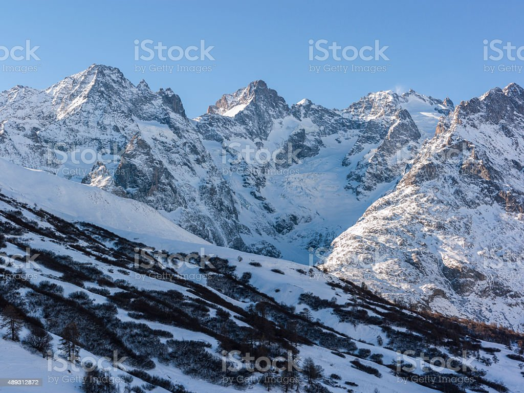 France. Hautes-Alpes. Overlook from Col du Lautaret stock photo