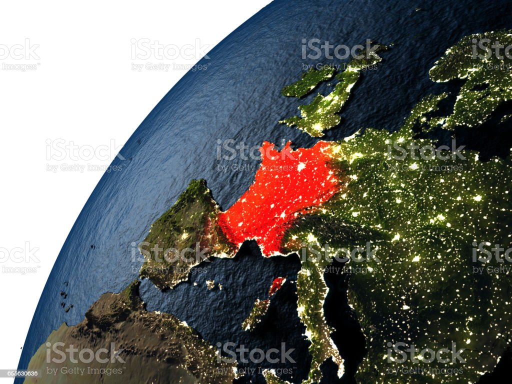 France in red on Earth at night vector art illustration
