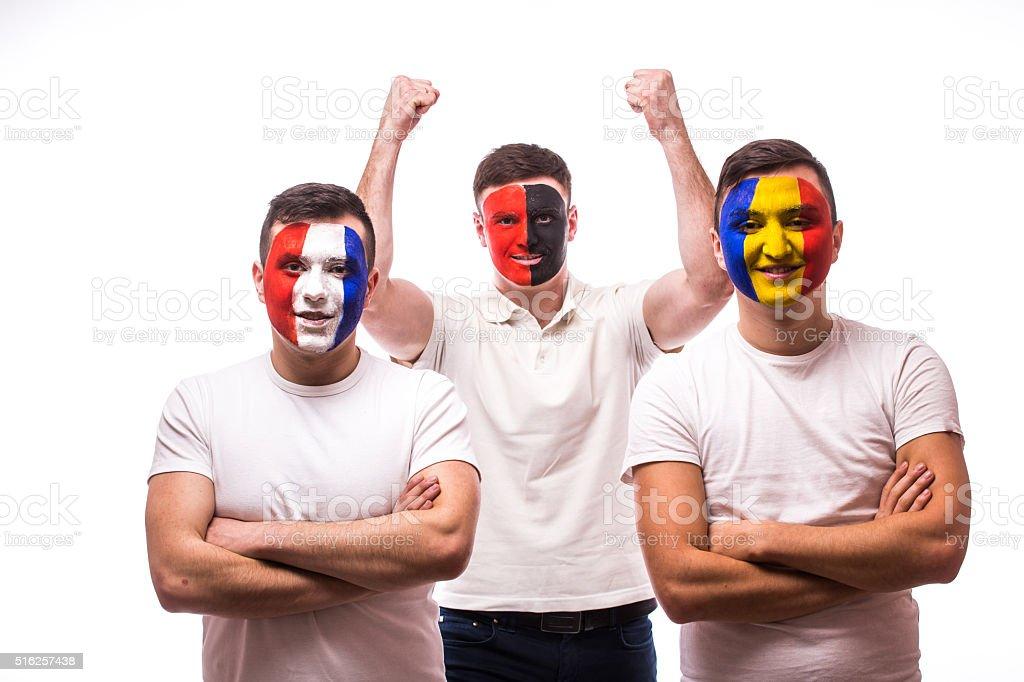 France - lose, Albania - win, Romania – lose. stock photo