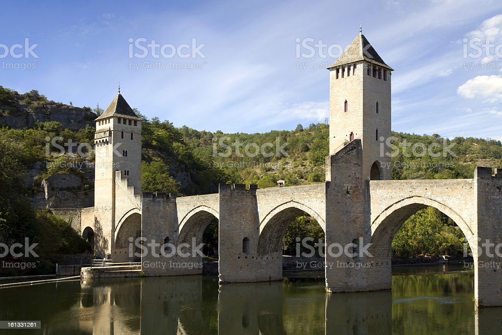 France, Lot, Cahors, historic Pont Valentre fortified bridge stock photo