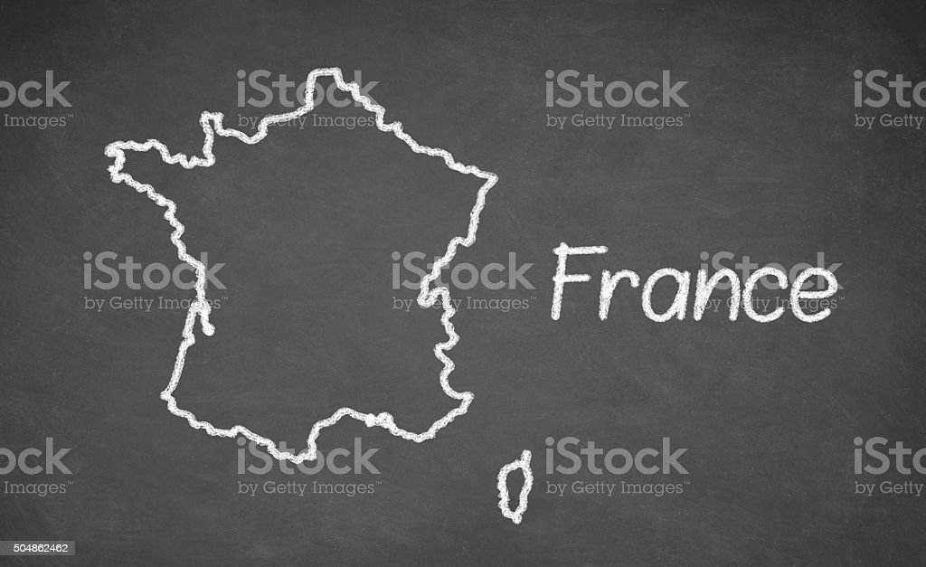 France map drawn on chalkboard stock photo