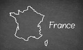 France map drawn on chalkboard