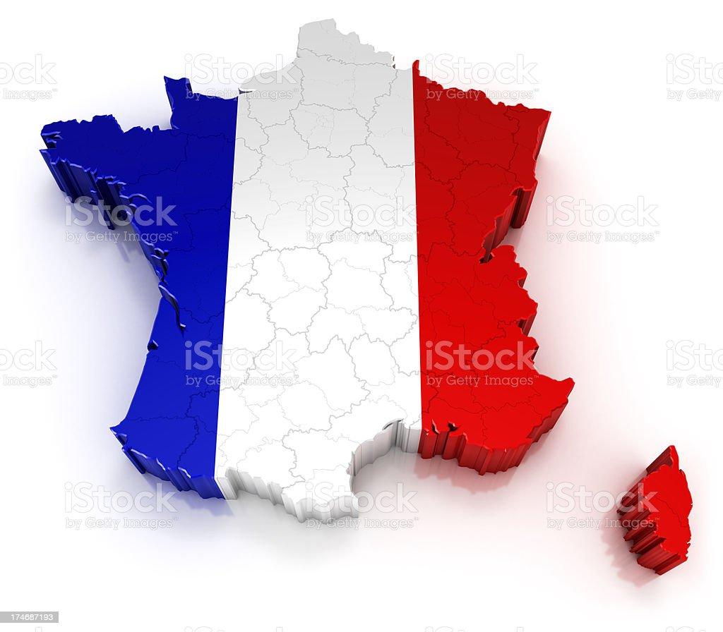 France map with flag stock photo