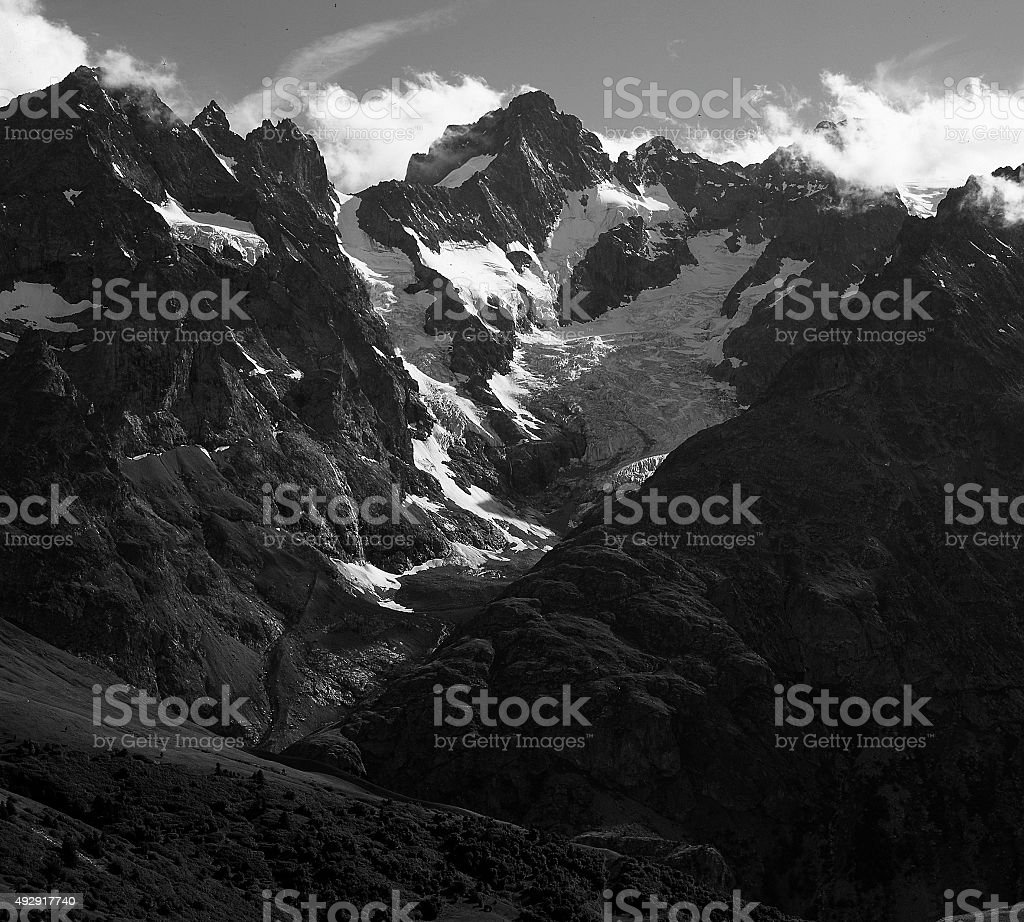 France. Massif des Ecrins. From the Col du Lautaret stock photo