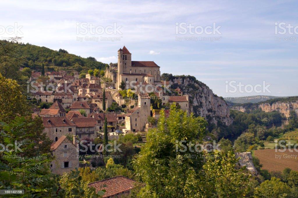France, Midi Pyrenees, Lot, clifftop village of St Cirq Lapopie stock photo