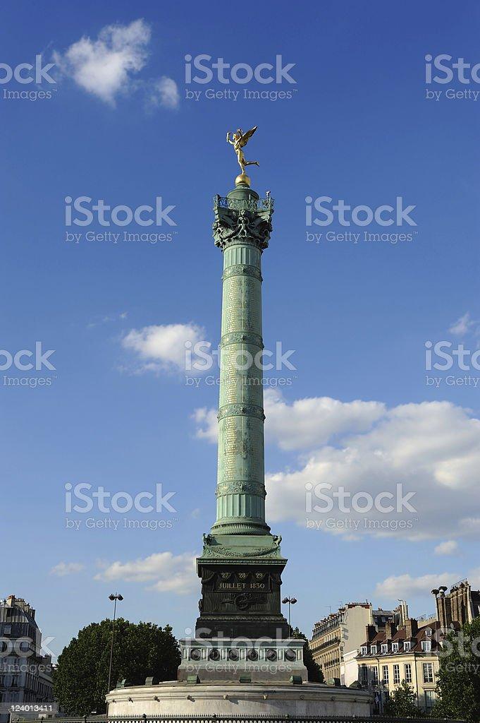 France Paris Bastille Column Sunny Summer Bottom View stock photo