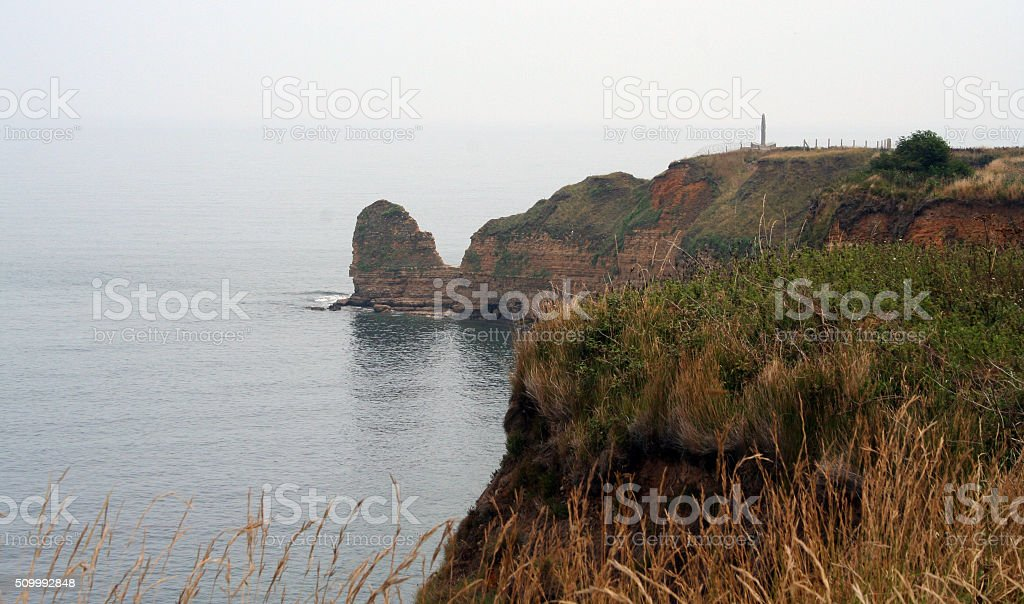 France: Point du Hoc D-Day site in Normandy stock photo