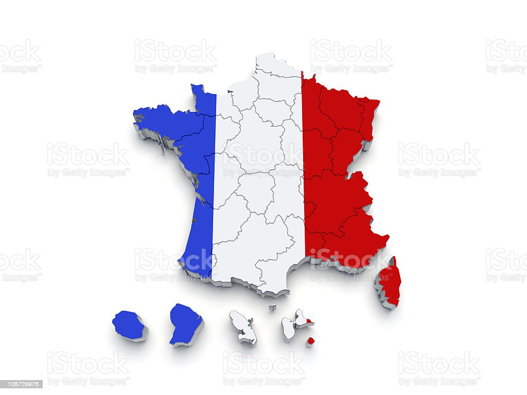 France Regional map 3D stock photo