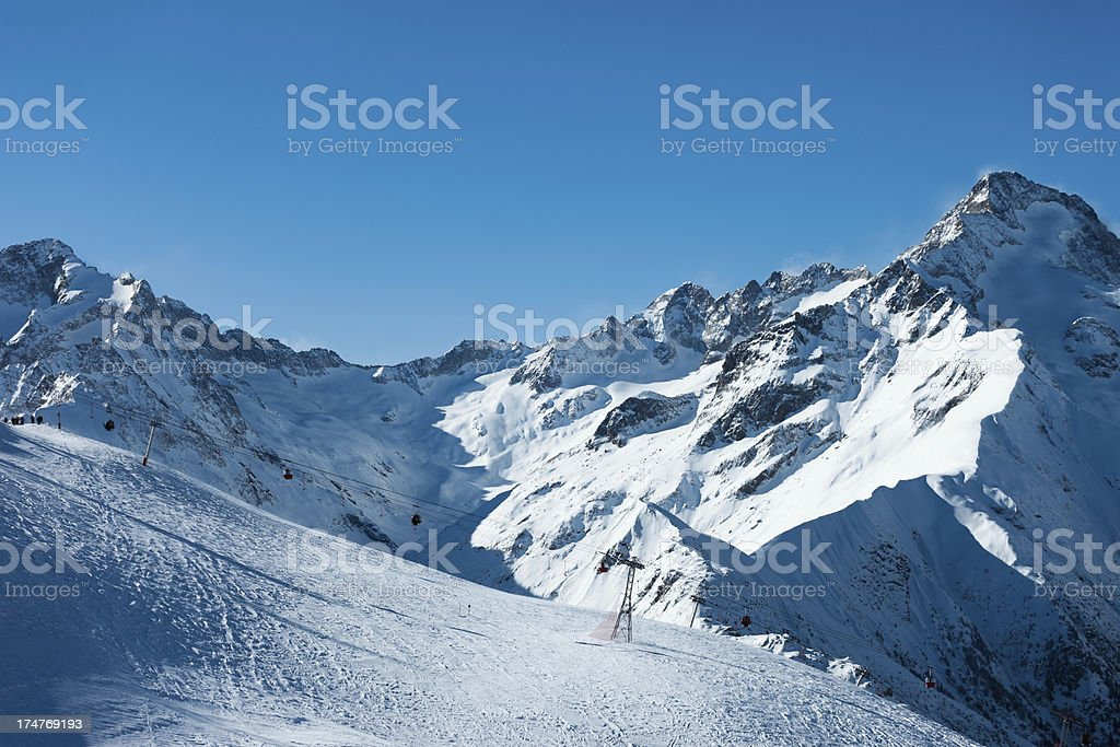 France ski resort Les 2 Alpes royalty-free stock photo