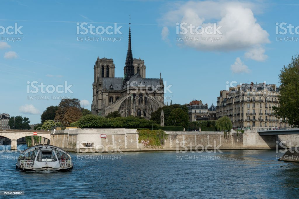 France. The ancient castle on the river bank stock photo