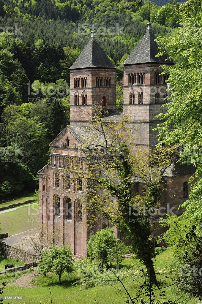 France, the roman abbey of Murbach in Alsace stock photo