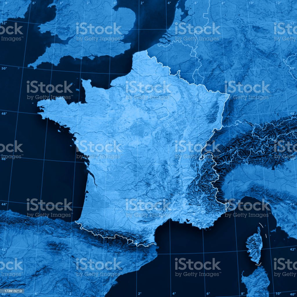 France Topographic Map stock photo