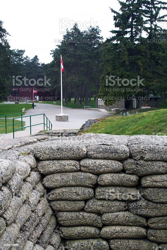 France: Trenches at the Canadian National Vimy Memorial stock photo