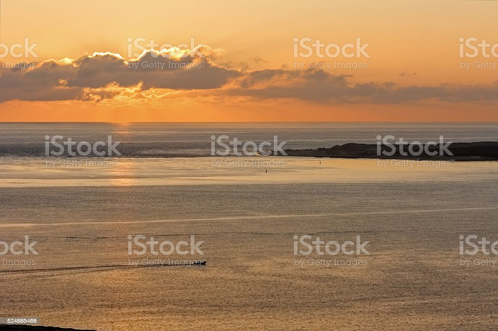 France: View from Europe's highest dune near Arcachon in sunset stock photo