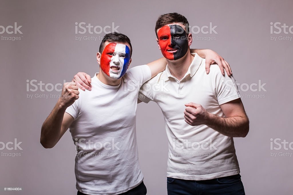 France vs Albania. Football fans  friendly support before match stock photo