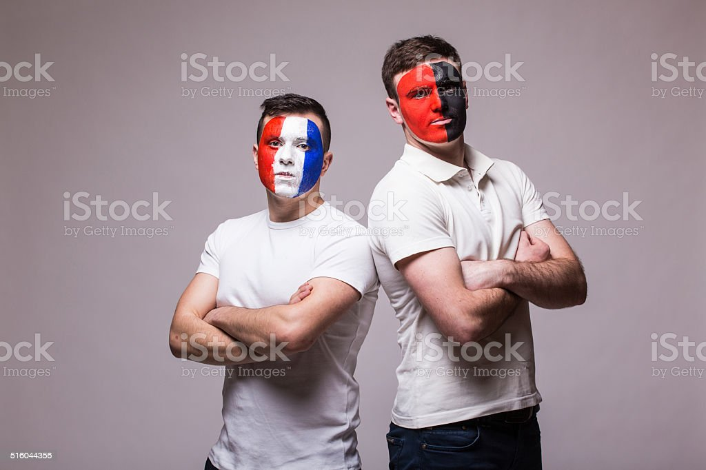 France vs Albania. Football fans of national teams before match stock photo