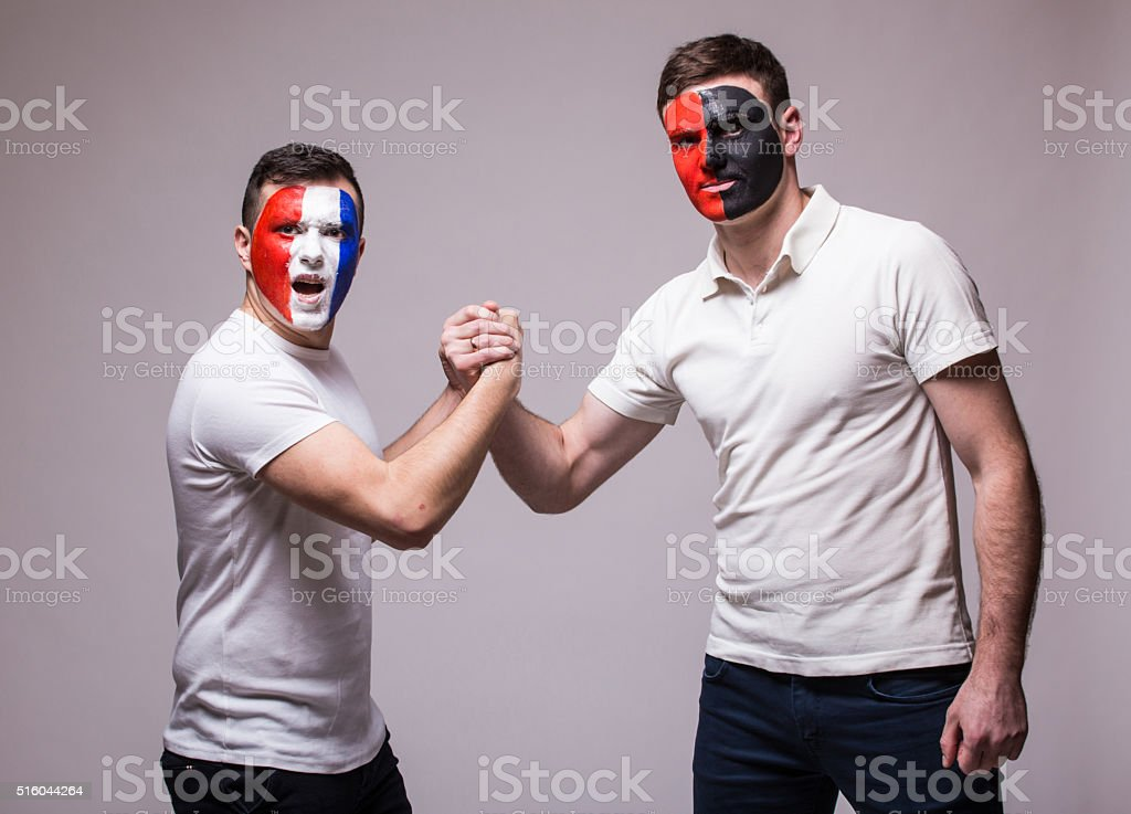 France vs Albania. Football fans of national teams friendly handshake stock photo