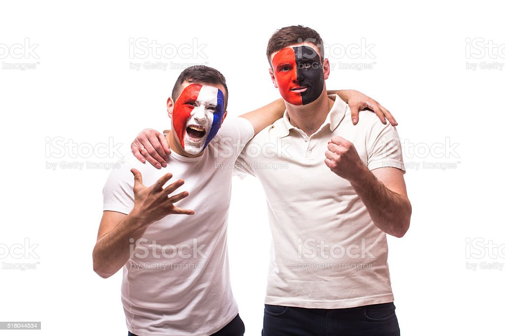 France vs Albania. Football fans of national teams friendly support stock photo