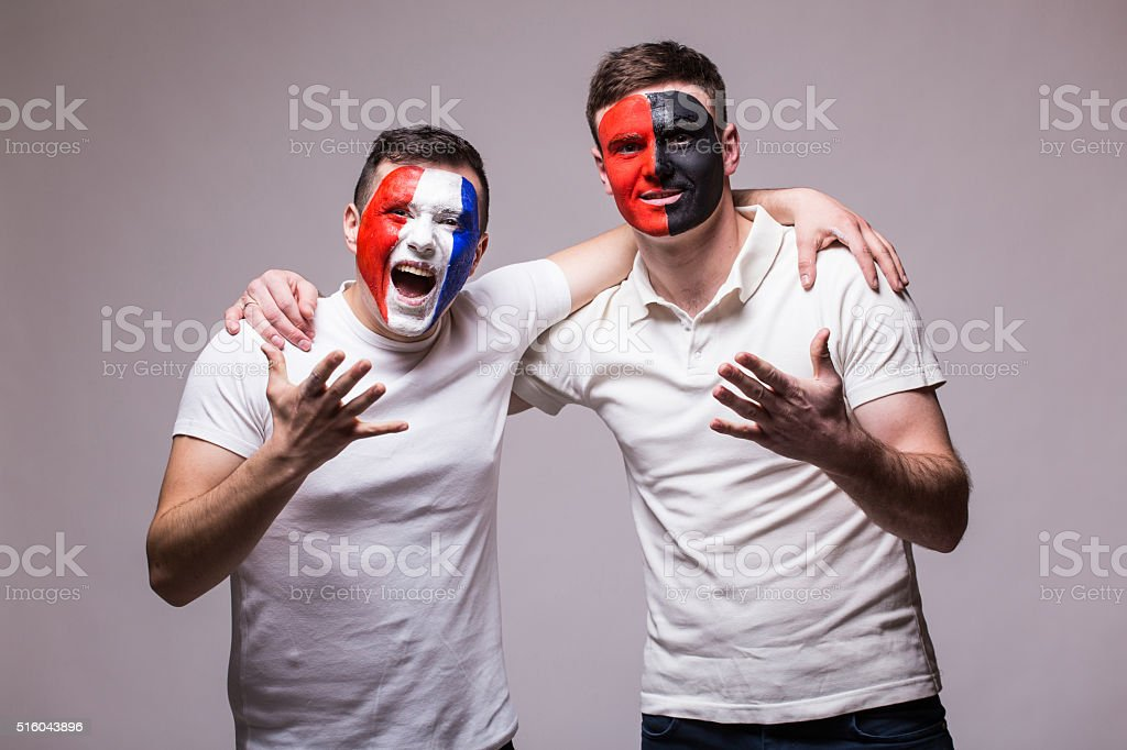 France vs Albania. Football fans support before match stock photo