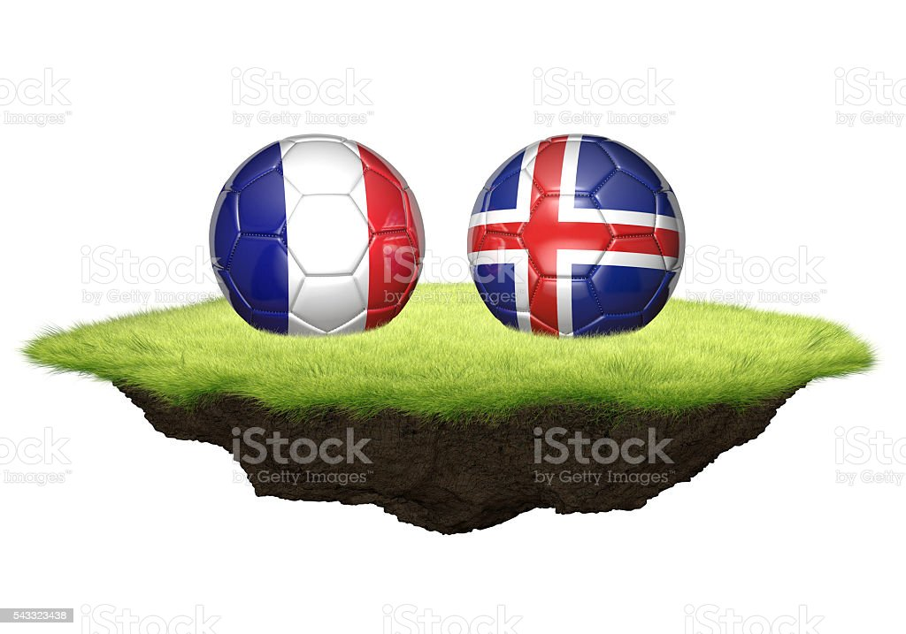 France vs Iceland team balls for football championship tournament stock photo