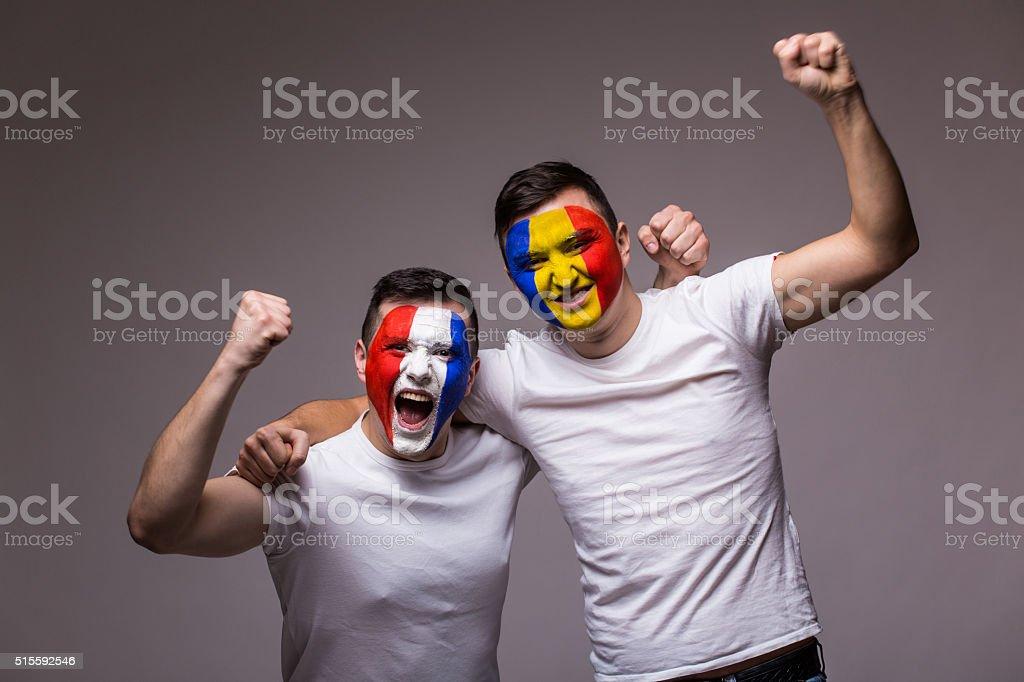 France vs Romania on white background. stock photo