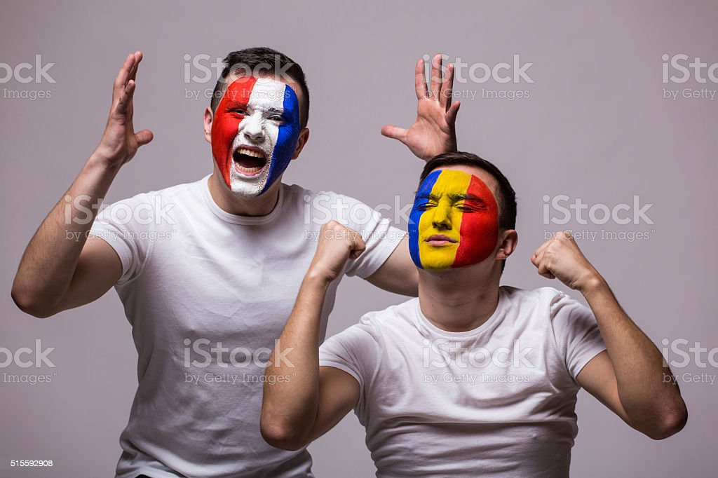 France vs Romania on white stock photo