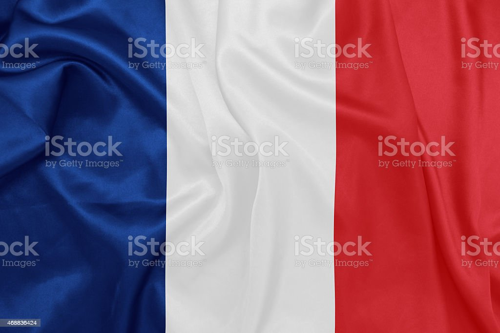 France - Waving national flag on silk texture stock photo