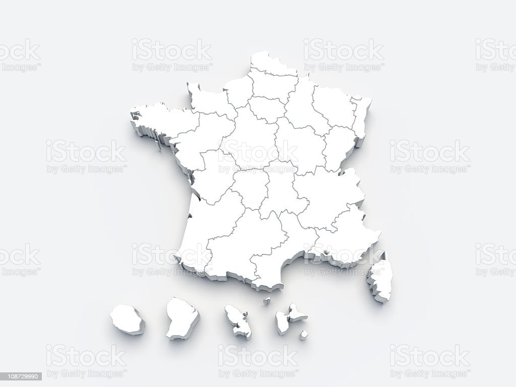 France white map 3D on gray royalty-free stock photo