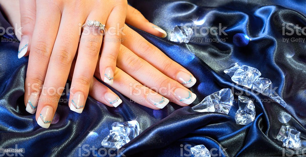 franch manicure with brilliants stock photo