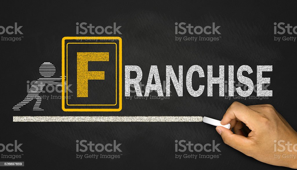 franchise concept on blackboard stock photo