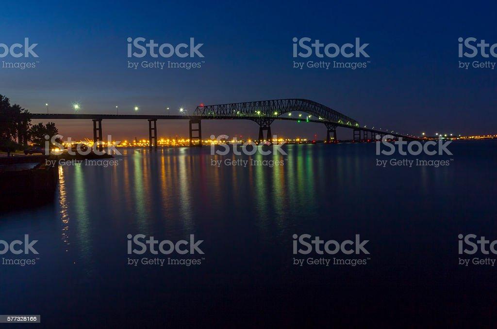 Francis Scott Key Bridge and Baltimore skyline at night stock photo