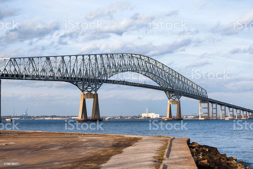 Francis Scott Key Bridge, Baltimore Maryland, HDR stock photo