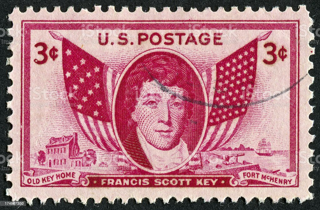 Francis Scott Key Stamp royalty-free stock photo