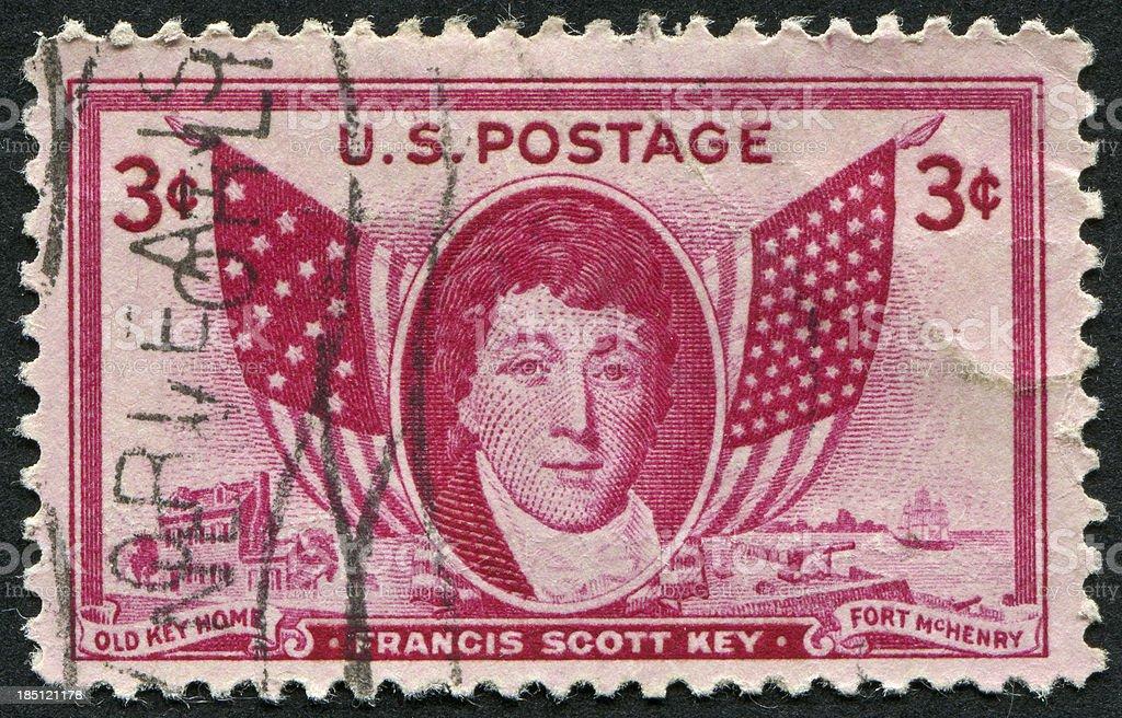 Francis Scott Key Stamp stock photo