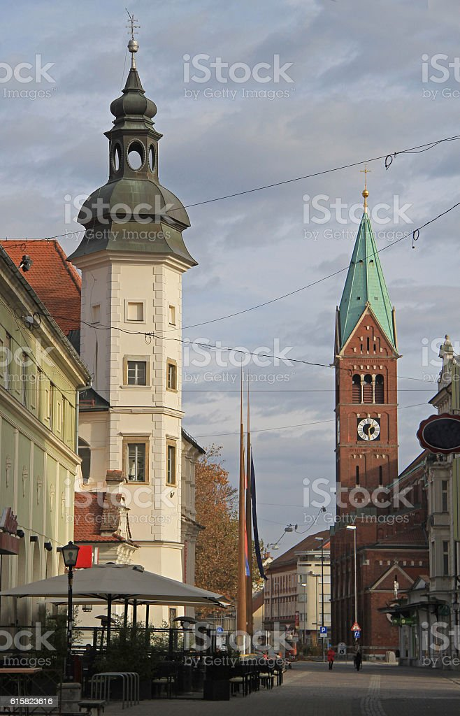 Franciscan church and other buildings in Maribor stock photo