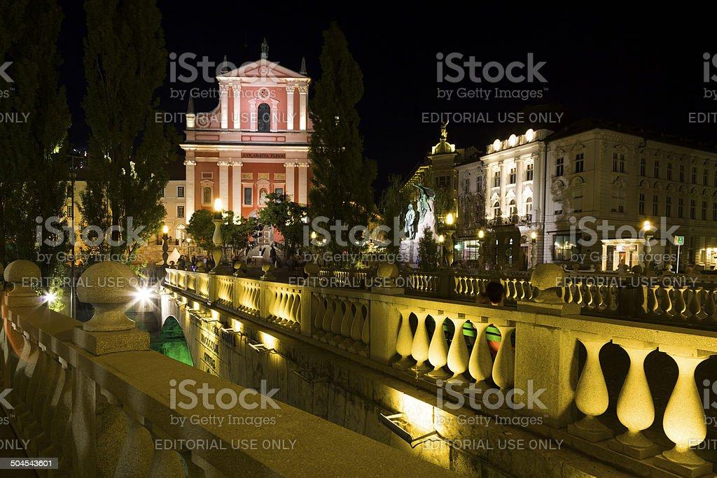Franciscan Church  in Ljubljana royalty-free stock photo