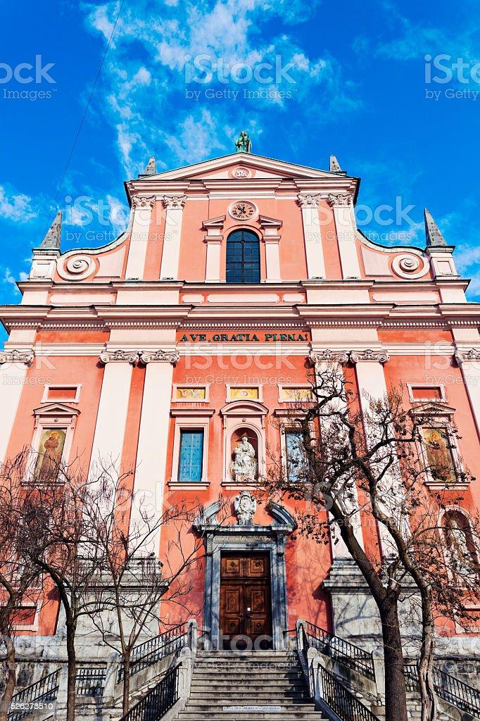 Franciscan Church in Ljubljana stock photo