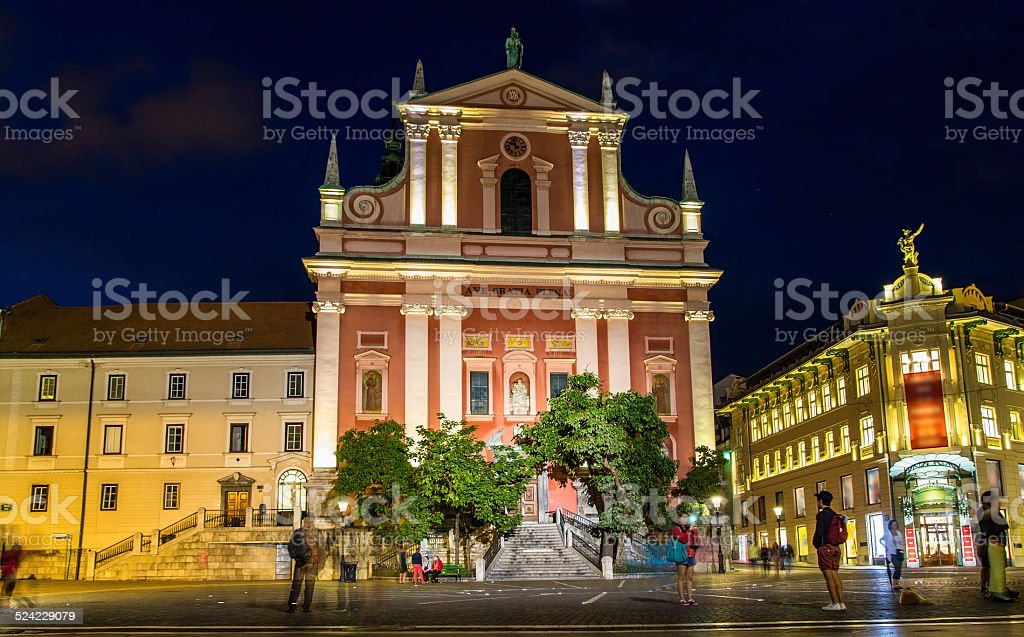 Franciscan Church of the Annunciation in Ljubljana, Slovenia stock photo